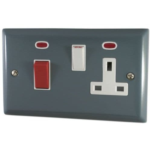 G&H SDG29W Spectrum Plate Dark Grey 45 Amp DP Cooker Switch & 13A Switched Socket